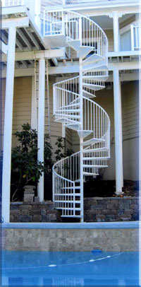 Poolside spiral stairs